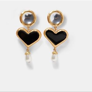 Zara Faux Pearl Heart Earrings